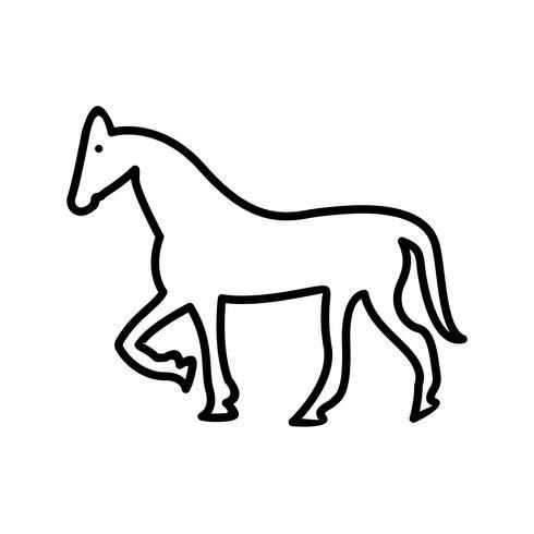 Icona di cavallo linea nera vettore