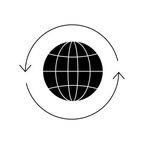 Globo Glifo negro Icono vector