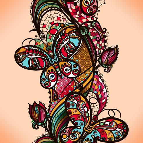 Abstract kleuren kanten patroon van de elementen van bloemen en vlinders. Vector kleurrijke naadloze achtergrond.