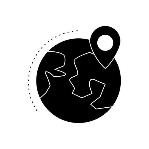 Locatie op aarde Glyph Black pictogram