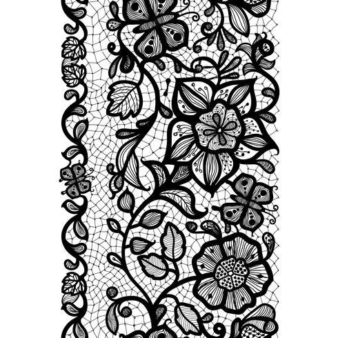 Modello astratto pizzo senza soluzione di continuità con fiori e farfalle. Carta da parati infinitamente, decorazione per il tuo design, lingerie e gioielli.