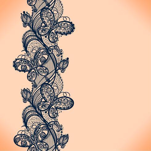 Modelo inconsútil de la cinta abstracta del cordón con las flores de los elementos. Diseño de marco de plantilla para tarjeta. Tapete de encaje.