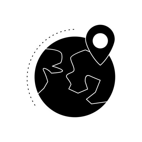 Location on Earth Glyph Black Icon