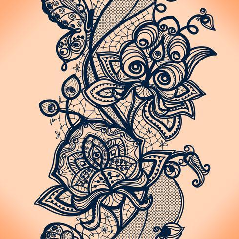 Modelo inconsútil de la cinta abstracta del cordón con las flores de los elementos. Diseño de marco de plantilla para tarjeta. Tapete de encaje. vector