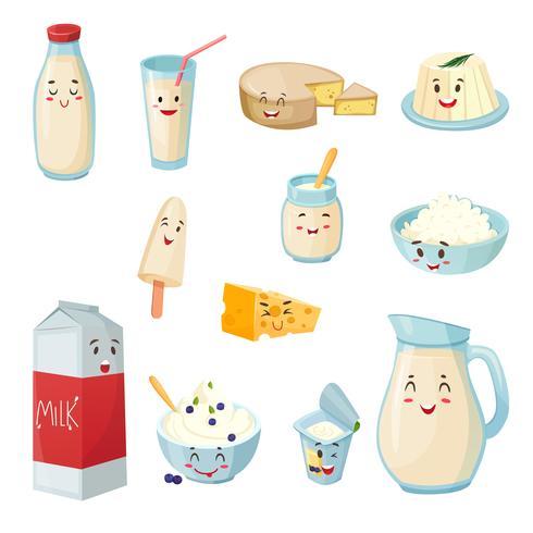 Insieme del fumetto di prodotti lattiero-caseari con sorrisi vettore