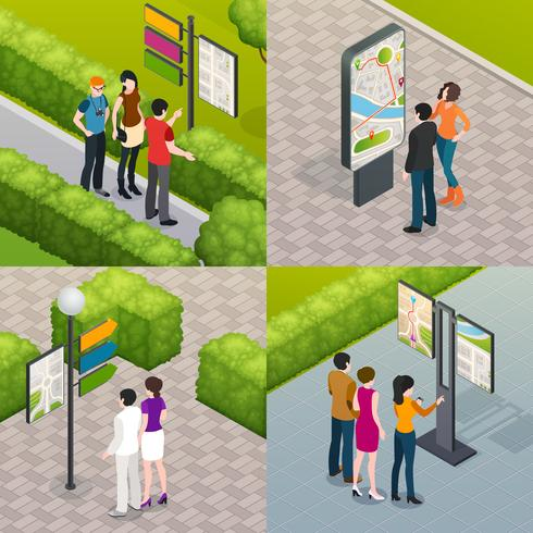 Tourists Street Map 4 Icons