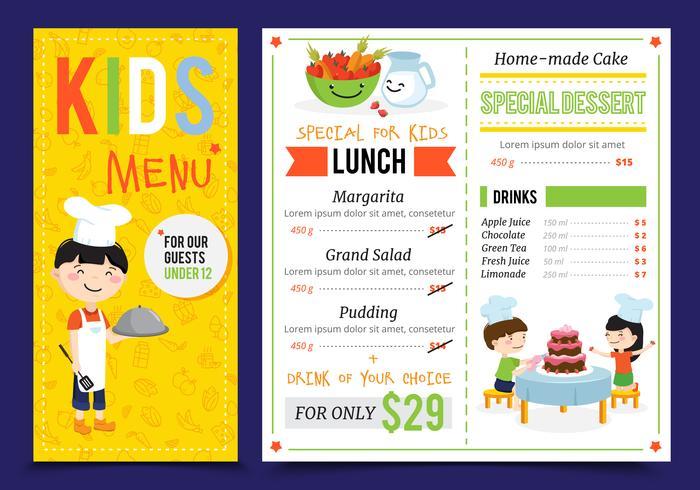 Restaurante para niños menú de diseño