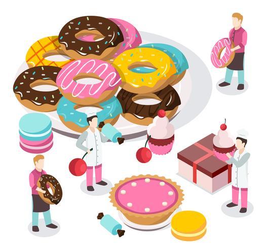composición isométrica tienda de dulces