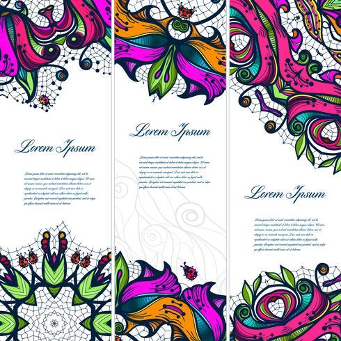 Conjunto floral del cordón del color de la vendimia de las banderas para sus diseños.