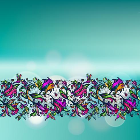 Abstract kleuren vector kanten naadloos patroon van elementenbloemen en vlinders op vage achtergrond met bokehelementen.