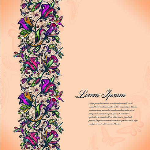 Abstrakt färg lacy mönster av elementen av blommor och fjärilar. Vector färgglada sömlösa spetsar.