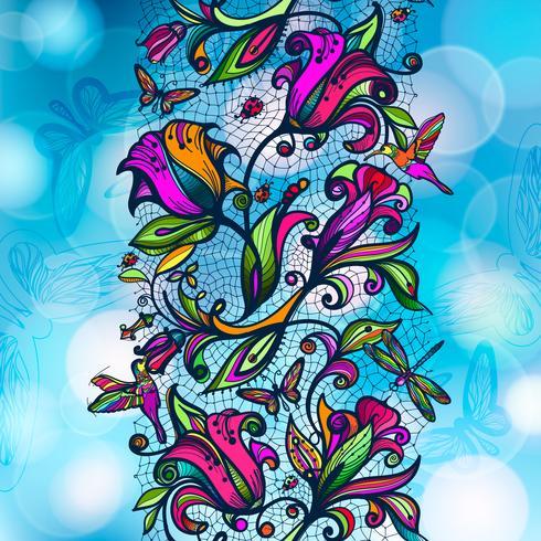 Modèle sans couture dentelle couleur abstraite vecteur de fleurs d'éléments et de papillons sur un arrière-plan flou avec des éléments de bokeh.