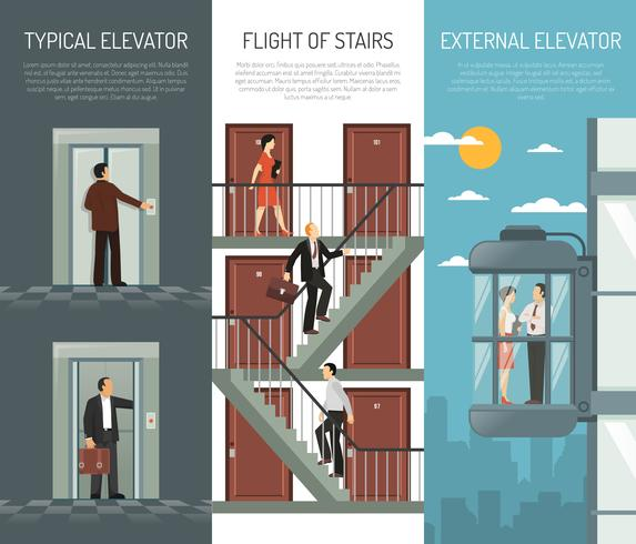 Aufzug Rolltreppe Treppen Vertikale Banner Set