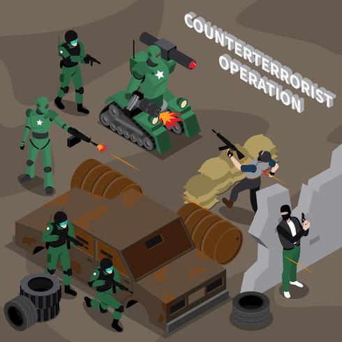 Operación contraterrorista composición isométrica vector
