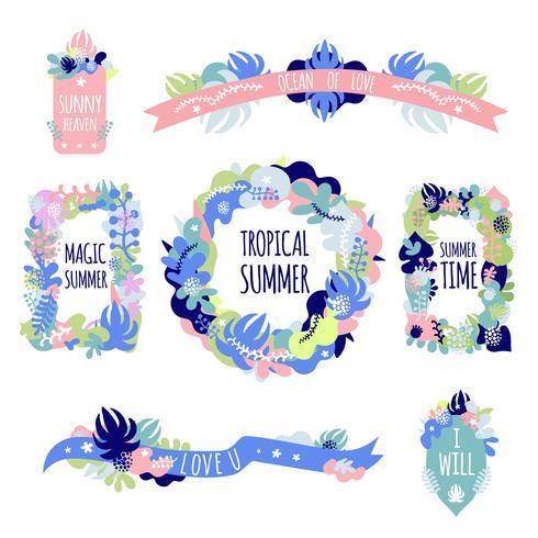 Set de composiciones florales vector