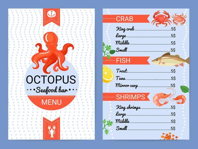 Poster liso do menu da barra do marisco vetor