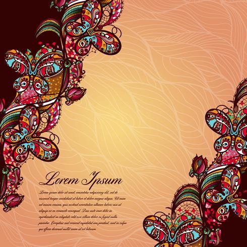 Modello di pizzo di colore astratto degli elementi di fiori e farfalle. Priorità bassa variopinta di vettore. vettore