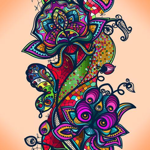 Teste padrão laçado da cor abstrata dos elementos das flores e das borboletas. Fundo sem emenda colorido do vetor.
