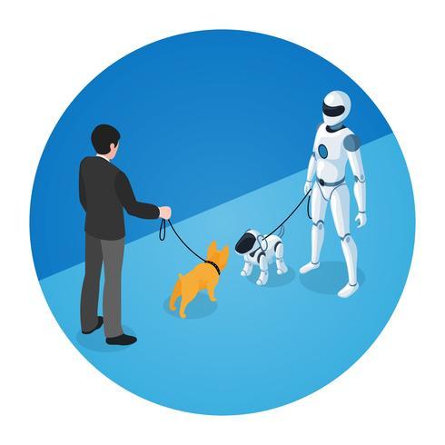Proprietario del cane e robot domestico con Robot Dog vettore