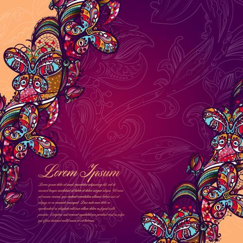 Modelo de encaje del color abstracto de los elementos de flores y de mariposas. Fondo colorido del vector.