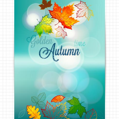 Abstract background of autumn leaves on blurred background with bokeh elements.