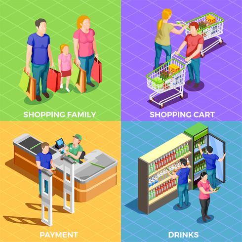 La gente de compras isométrica