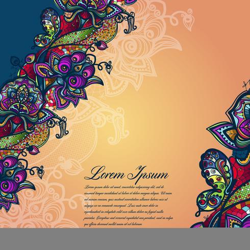 Modello di pizzo di colore astratto degli elementi di fiori e farfalle. Vector sfondo colorato.