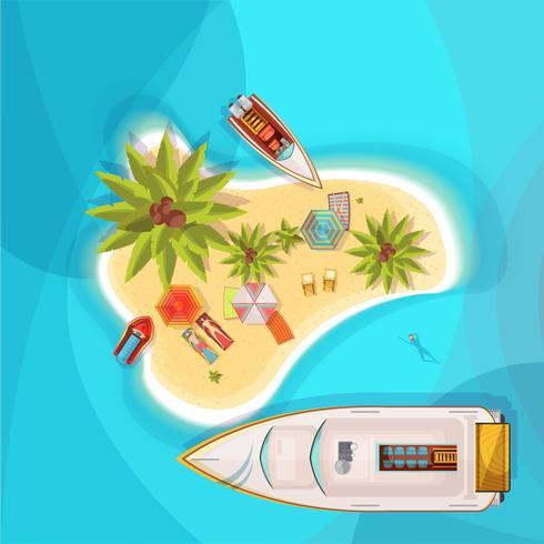 Island Beach Top View Illustration vector
