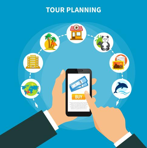 Planificación de excursiones con entradas en la pantalla del teléfono inteligente