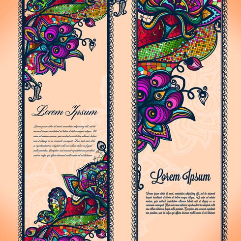 El modelo inconsútil de la cinta abstracta del cordón del color con los elementos florece.