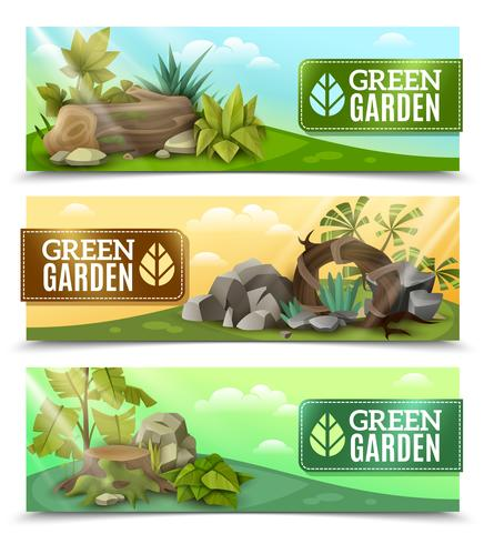Conjunto de Banners horizontales de diseño de jardín paisajístico