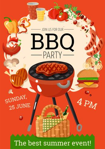 BBQ Barbecue Party Aankondiging Poster vector