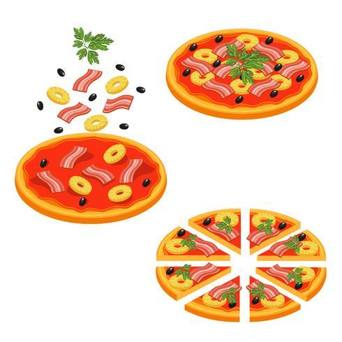 Pizza en rodajas conjunto de iconos isométricos