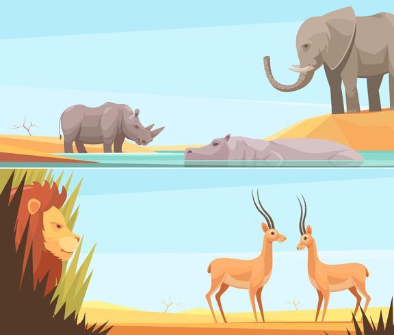 Conjunto de Banners africanos salvajes vector