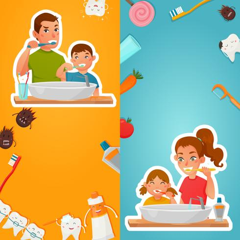 Familjhygien av tänder vertikala banderoller