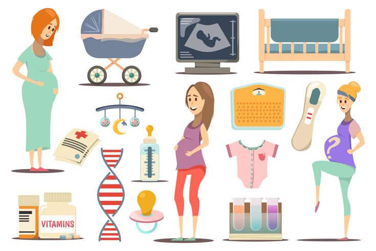 Conjunto de ícones plana de gravidez vetor
