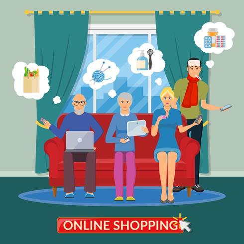 Compras en línea composición plana