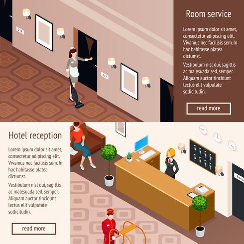 Hoteldienst Isometrische Horizontale Banners vector