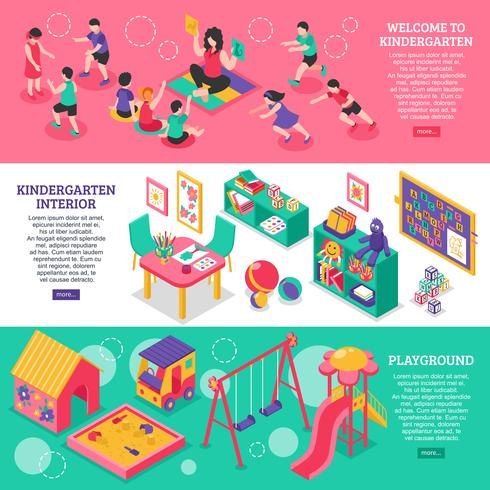 kindergarten Isometric Banners
