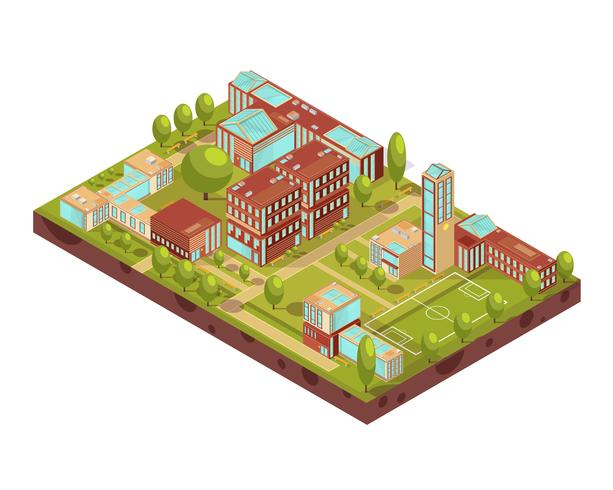 Modern University Buildings Isometric Layout