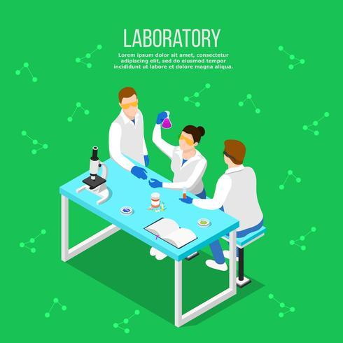 Laboratorio Farmacéutico Composición Isométrica vector