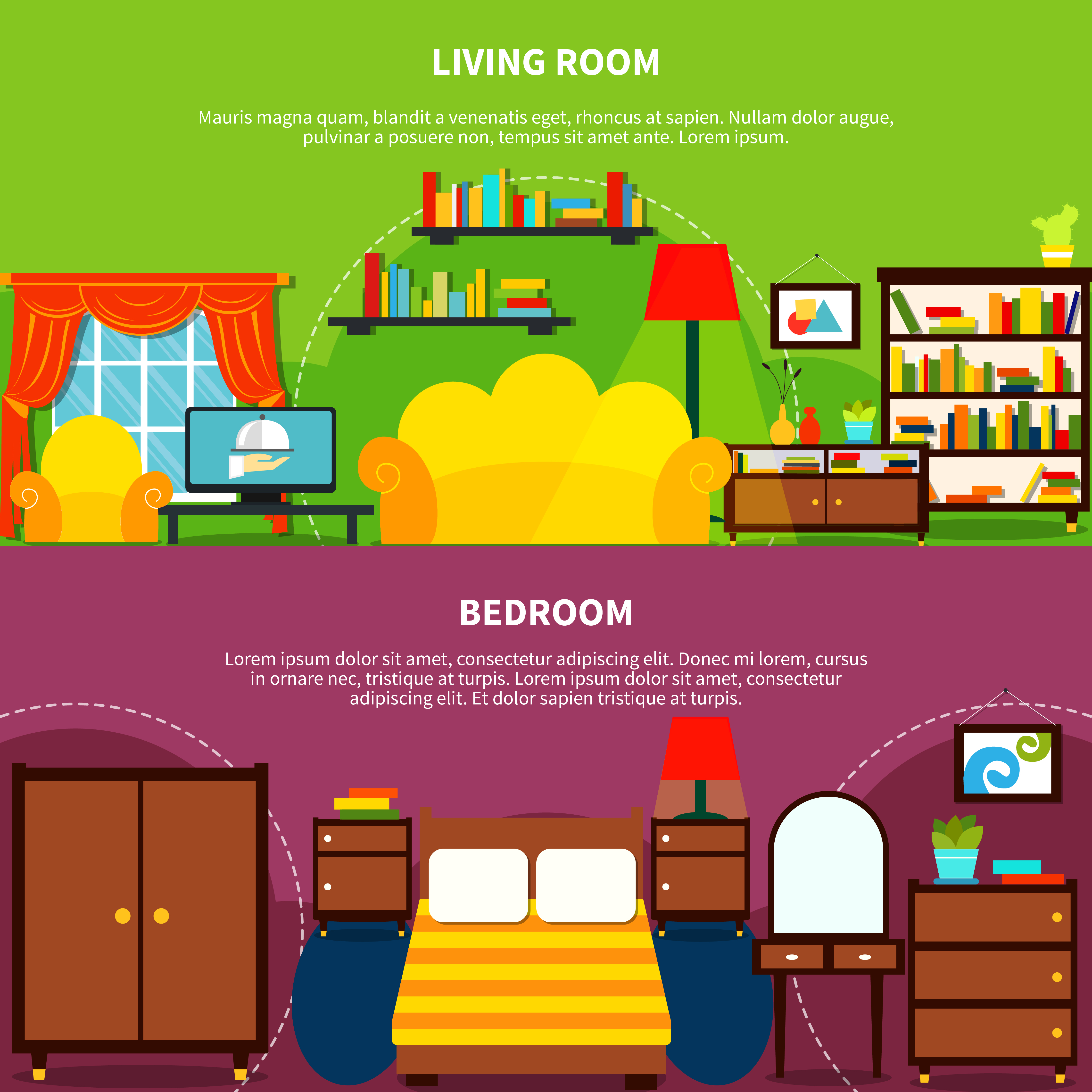 Banners For Bedrooms: Room Interior Banners Set Vector