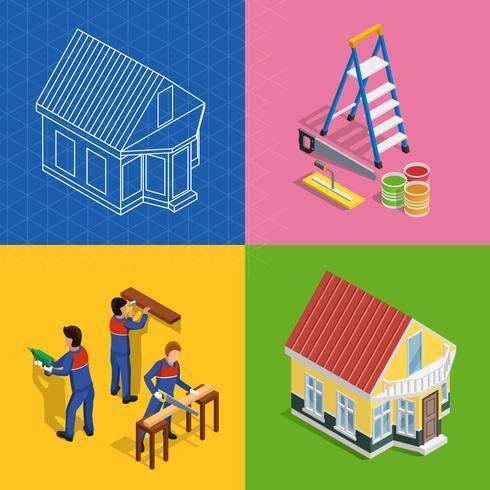 Set di icone di concetto isometrico di ristrutturazione vettore