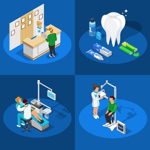 Concetto di design isometrica di odontoiatria