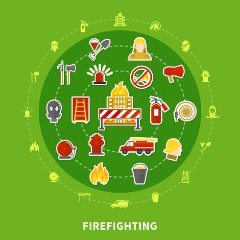 Concepto plano de lucha contra incendios.