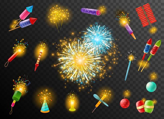 Sfondo scuro pirotecnico Poster di cracker di fuochi d'artificio vettore