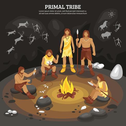 Ilustración de la gente de la tribu primaria vector