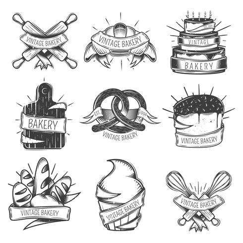 Conjunto de iconos de panadería vintage vector