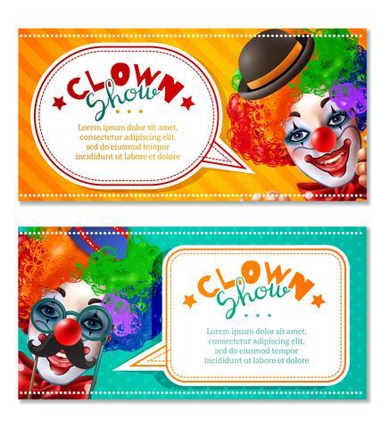Clown del circo Mostra 2 banner orizzontali vettore