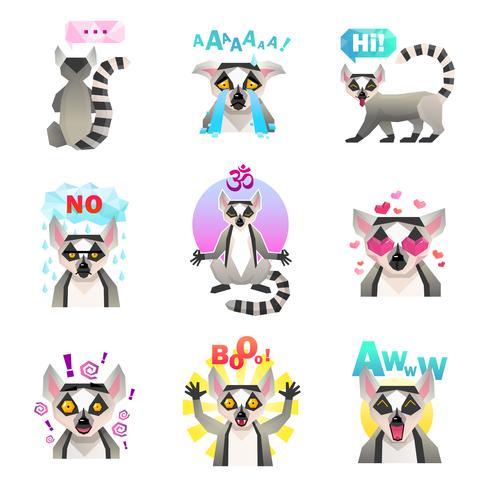 Lemur Emoji Stickers Set vector